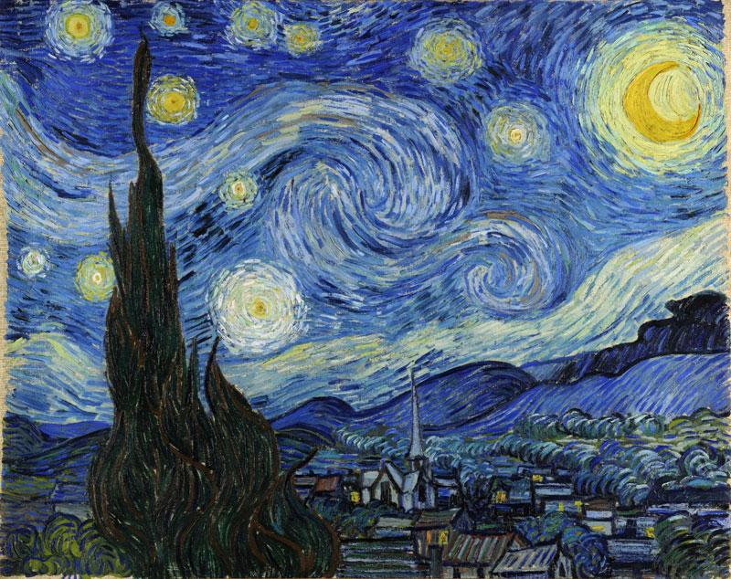 """Starry Night (Animación Interactiva). Petros Vrellis - """"Noche Estrellada"""" de Vincent van Gogh"""