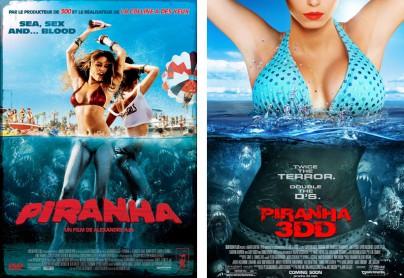 """Filmplakate zu """"Piranha 3D"""" und """"Piranha 3DD"""""""
