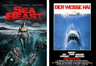 """Filmplakate zu """"Sea Beast"""" und """"Der Weiße Hai"""""""