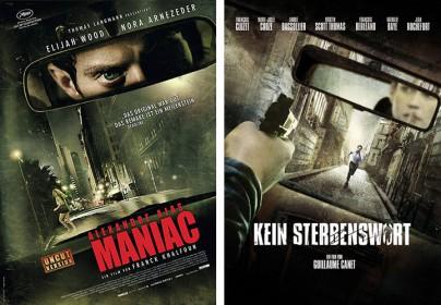 """Filmplakate zu """"Maniac"""" und """"Kein Sterbenswort"""""""