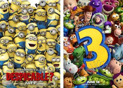 """Filmplakate zu """"Ich - Einfach unverbesserlich"""" und """"Toy Story 3"""""""