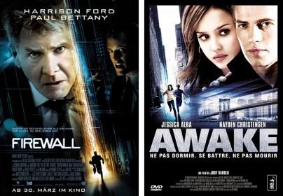 """Filmplakate zu """"Firewall"""" und """"Awake"""""""