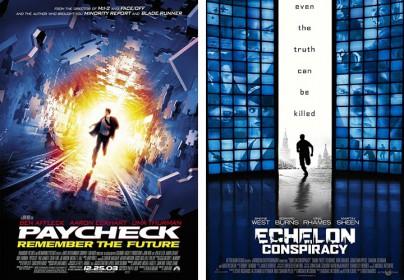 """Filmplakate zu """"Paycheck - Die Abrechnung"""" und """"Die Echelon-Verschwörung"""""""