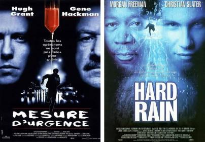 """Filmplakate zu """"Extrem ... mit allen Mitteln"""" und """"Hard Rain"""""""