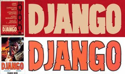 """Die Titelschrifzüge von """"Django"""" und """"Django Unchained"""" im Vergleich."""