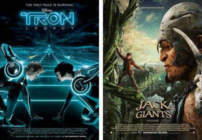 "Filmplakate zu ""Tron Legacy"" und ""Jack and the Giants"""