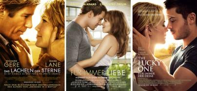 """Filmplakate zu """"Das Lächeln der Sterne"""", """"Für immer Liebe"""" und """"The Lucky One"""""""