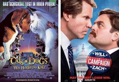 """Filmplakate zu """"Cats & Dogs"""" und """"Die Qual der Wahl"""""""
