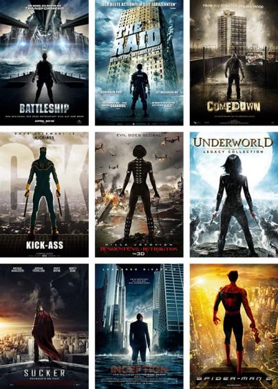 Filmplakate mit Personen von hinten