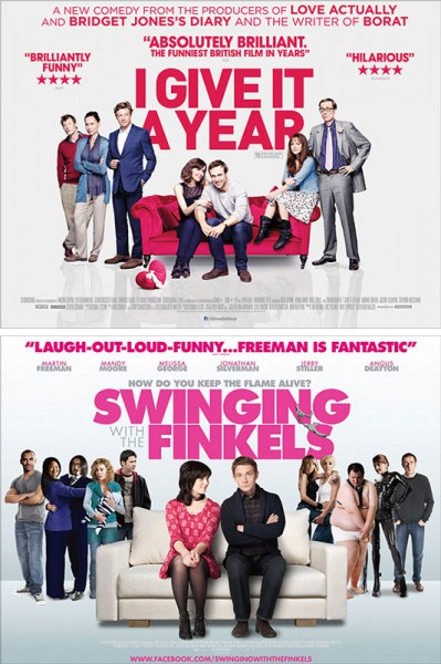 "Filmplakate zu ""I Give it a Year"" und ""Swinging with the Finkels"""