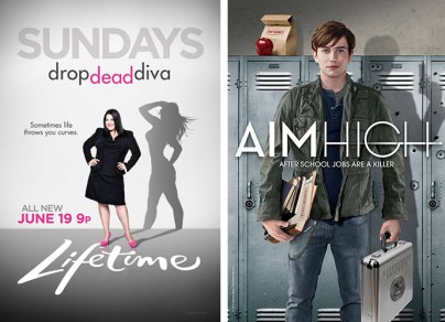 "Plakate zu ""Drop Dead Diva"" und ""Aim High"""