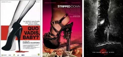 """Filmplakate von """"Quo Vadis, Baby?"""", """"Stripped Down"""" und """"The Dark Knight Rises"""""""