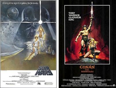 """Filmplakate zu """"Krieg der Sterne: Episode IV - Eine neue Hoffnung"""" und """"Conan - Der Barbar"""""""