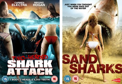 "Plakate von ""2 Headed Shark Attack"" und ""Sand Sharks"""