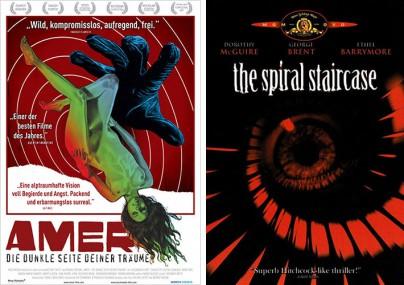 """Filmplakate von """"Amer"""" und """"Die Wendeltreppe"""""""