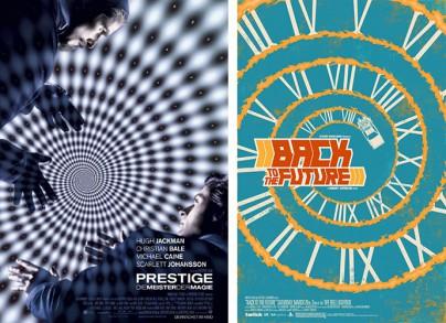 """Filmplakat von """"Prestige - Die Meister der Magie"""" und  """"Zurück in die Zukunft"""""""