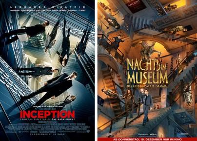 """Filmplakate zu """"Inception"""" und """"Nachts im Museum - Das geheimnisvolle Grabmal"""""""