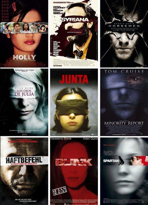 Verdeckte Augen auf Filmplakaten