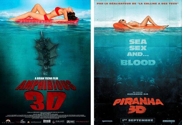 """Amphibious"" vs. ""Piranha 3D"""