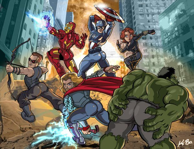 Avengers Booty Ass-emble von Kevin Bolk