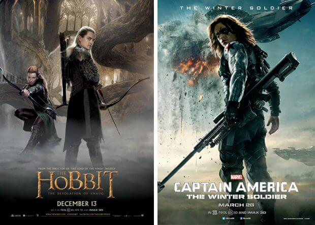 "Poster zu ""Der Hobbit - Smaugs Einöde"" und ""The Return of the First Avenger"""