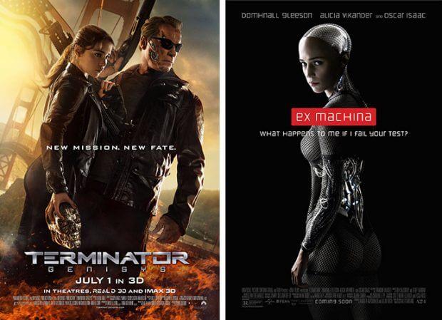 """Filmplakate zu """"Terminator: Genisys"""" und """"Ex Machina"""""""