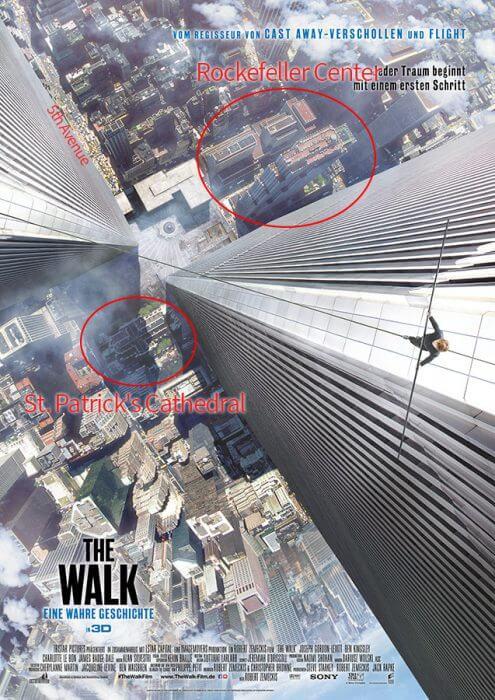 """Falsche Häuser auf dem Plakat von """"The Walk"""""""