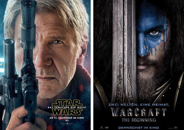 """Filmplakate zu """"Star Wars - Das Erwachen der Macht"""" und """"Warcraft"""""""