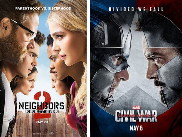 """Bad Neighbors 2"" und ""The First Avenger - Civil War"""
