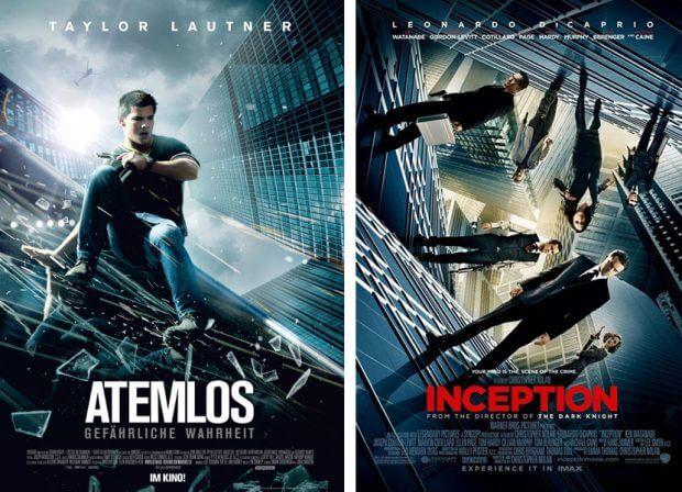 """Filmplakate zu """"Atemlos"""" und """"Inception"""""""