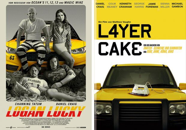 """Filmplakate zu """"Logan Luck"""" und """"Layer Cake"""""""