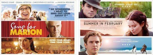 "Filmplakate zu ""Song for Marion"" und ""Sommer im Februar"""
