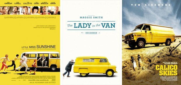 "Filmplakate zu ""Little Miss Sunshine"", ""The Lady in the Van"" und ""Calico Skies"""