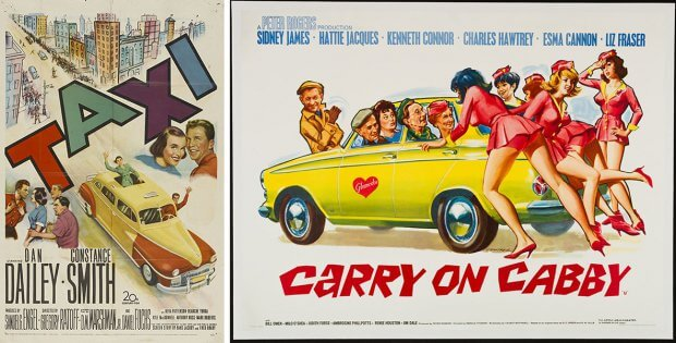 "Filmplakate zu ""Taxi"" (1953) und ""Carry on Cabby"" (1963)"