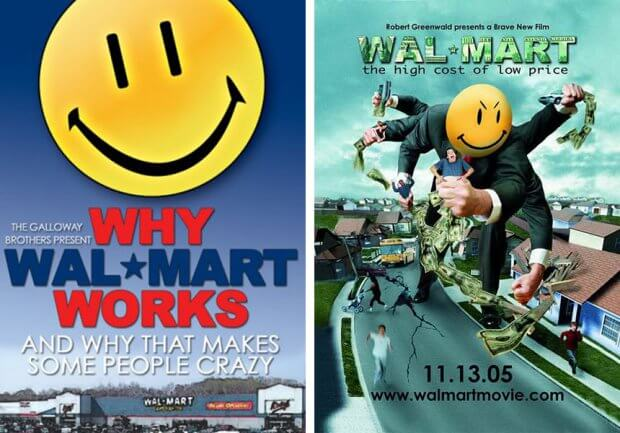 """Filmplakate zu """"Why Wal-Mart Works"""" und """"Wal-Mart: The High Cost of Low Price"""""""
