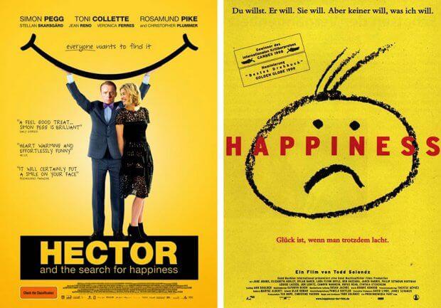 """Filmplakate zu """"Hectors Reise oder die Suche nach dem Glück"""" und """"Happiness"""""""