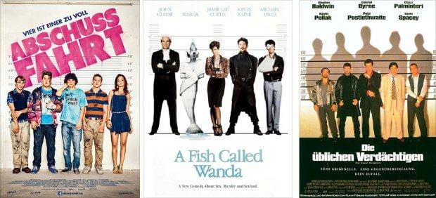 """Filmplakate zu """"Abschussfahrt"""", """"Ein Fisch namens Wanda"""" und """"Die üblichen Verdächtigen"""""""