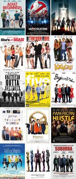Filmplakate mit Fünfergruppen