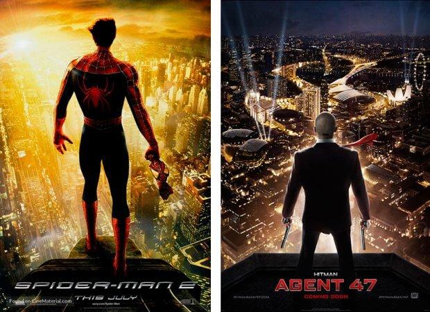 """Filmplakate zu """"Spider-Man 2"""" und """"Hitman: Agent 47"""""""