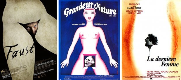 "Filmplakate zu ""Faust"", ""Grandeur nature"" und ""Die letzte Frau"""