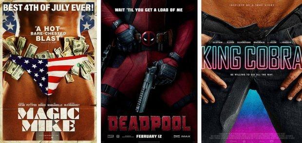 """Filmplakate zu """"Magic Mike"""", """"Deadpool"""" und """"King Cobra"""""""