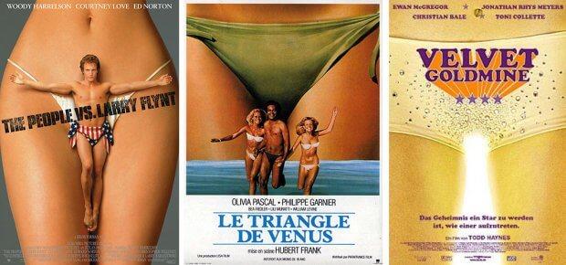 """Filmplakate zu """"Larry Flynt - Die nackte Wahrheit"""", """"Die Insel der tausend Freuden"""" und """"Velvet Goldmine"""""""
